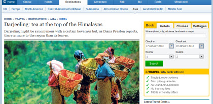 Tea Tourism in Darjeeling (Photo source: screen capture from site)