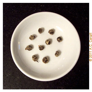 Dragon Pearls before steeping. (Photo source: A.C. Cargill, all rights reserved)