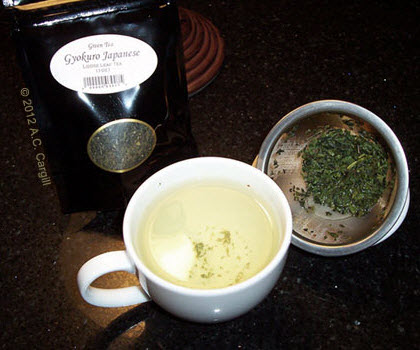 """The teacup and infuser basket was ideal for my gyokuro """"face off."""" (Photo source: A.C. Cargill, all rights reserved)"""