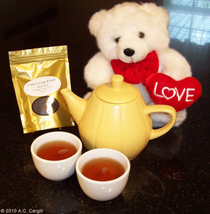 Some flavorful Lover's Leap tea and a lovey dovey teddy bear will make your Valentine smile! (Photo source: A.C. Cargill, all rights reserved)