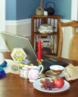 Most writers want an appropriate atmosphere, and editing a tea blog is no exception. (Photo source: A.C. Cargill, all rights reserved)