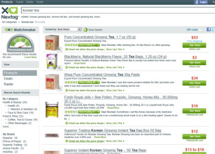 Korean Tea Search Results on Nextag (Photo source: screen capture from site)