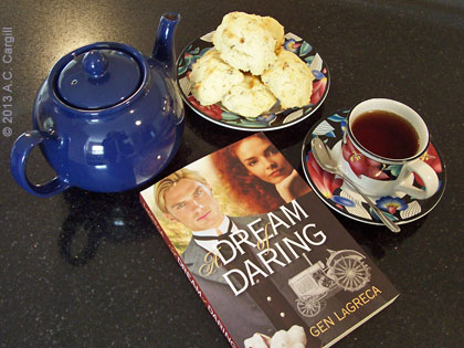 """A Dream of Daring"" — a great read with your tea and scones! (Photo source: A.C. Cargill, all rights reserved)"