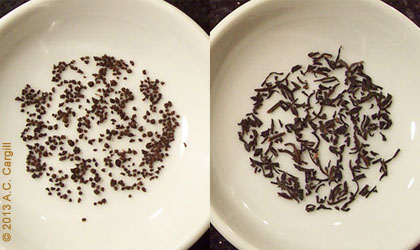 CTC Assam on the left. Orthodox Keemun Panda on the right (I didn't have any Assam on hand at the time). (Photo source: A.C. Cargill, all rights reserved)