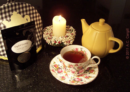 One of the more successful reviews – a tasty cup of English Evening. (Photo source: A.C. Cargill, all rights reserved)