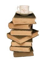 Teacup and Books (stock image)