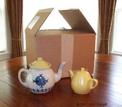 Here is our version being greeted by another American teapot (the infamous Little Yellow Teapot who considers all teapots his cousins)