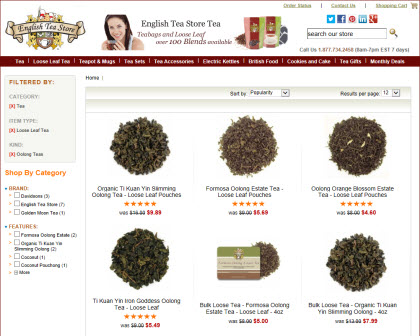 English Tea Store brand Oolong Teas (store image)