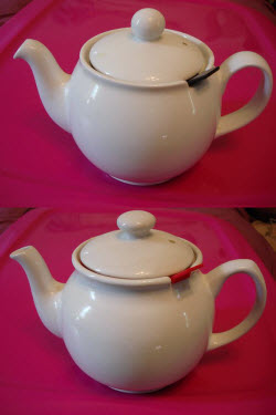 The original European-made Chatsford (top) that was virtually dripless versus the current Asian-made version (bottom). (photo by Janis Badarau and featured in her article – click on image to read it)