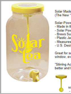 Solar powered sun tea jar (screen capture from site)