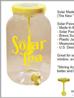 Solar powered sun tea jar (screen capture from site)