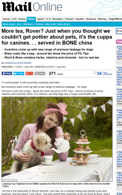 Tea for dogs? Now we've heard it all. (screen capture from site)
