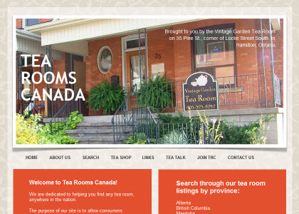 """Tea Rooms Canada - a guide to tea rooms """"north of the border"""" (screen capture from site)"""