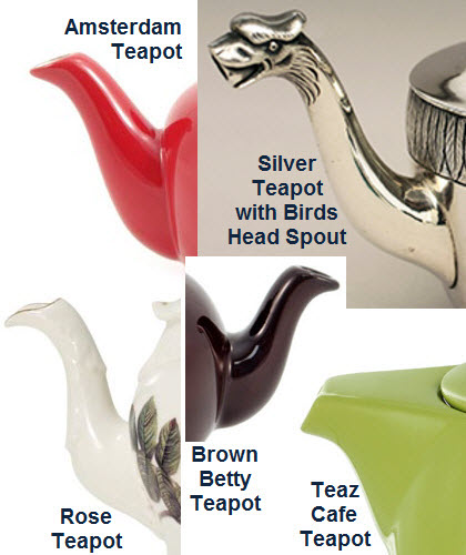 Variety in spout designs abound. Some are better for pouring than others. This is a small sampling.