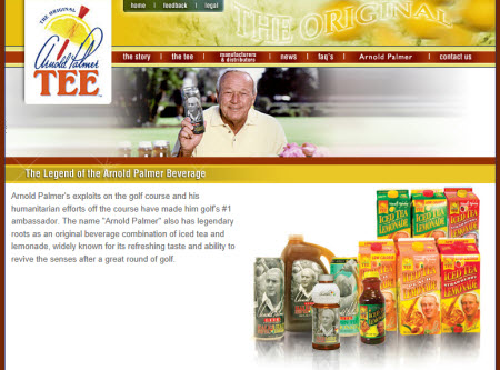 Arnold Palmer Tee (screen capture from site)