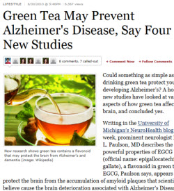 Green Tea May Prevent Alzheimer's Disease, Say Four New Studies (screen capture from site)