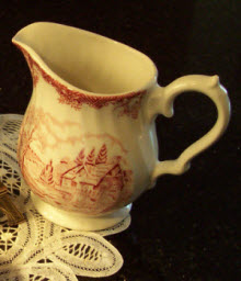 My little transferware creamer made by Churchill of England in Colombia, the same company that makes Blue Willow, a very popular transferware pattern. (photo by A.C. Cargill, all rights reserved)