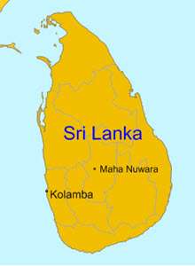 Map of Sri Lanka.