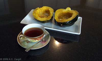 Baked squash with butter and garlic is NOT good before a tea tasting. (Photo by A.C. Cargill, all rights reserved)