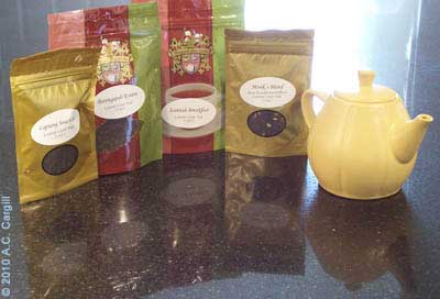 Reflecting on tea samples past – no leftovers here! Yum! (Photo by A.C. Cargill, all rights reserved)