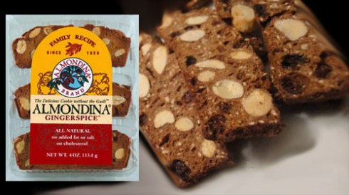 Almondina Gingerspice Cookie Biscuits in the package (ETS Image) and a close-up via Yahoo! Images.