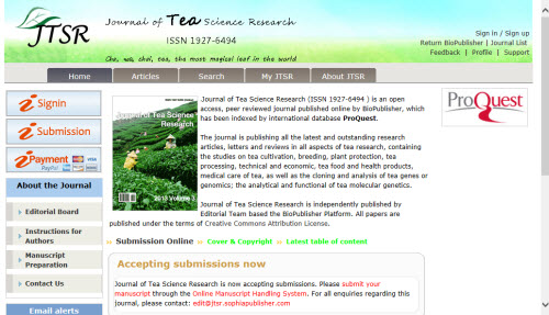 Journal of Tea Science Research (screen capture from site)