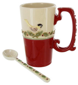 Very non-perishable, lasting, and perfect for that planned ahead gift basket: Let Nature Sing Latte Mug with Spoon (ETS image)