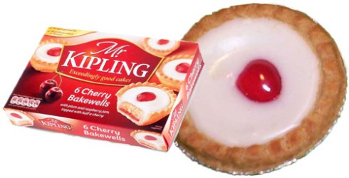 A box of 6 Mr Kipling Cherry Bakewells (ETS images) and a close-up of one of these tasty treats via Yahoo! Images