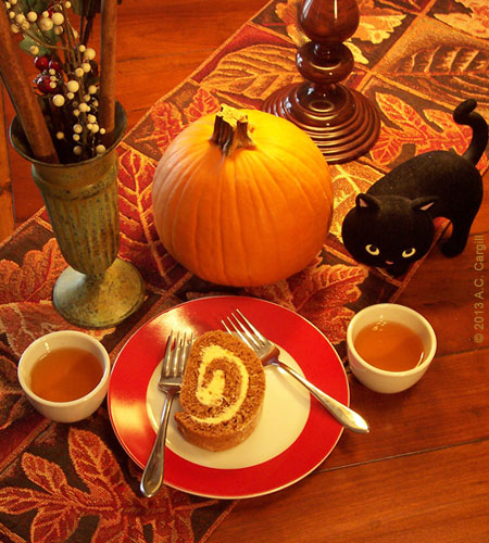 Sharing a slice of pumpkin swirl loaf and a couple of cups of Darjeeling! (Photo by A.C. Cargill, all rights reserved)