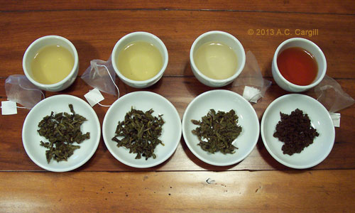 Left to right: green, roasted green, first flush green, and black teas (Photo by A.C. Cargill, all rights reserved)