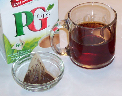 The PG Tips pyramid style teabag – unsqueezed! (Photo by A.C. Cargill, all rights reserved)