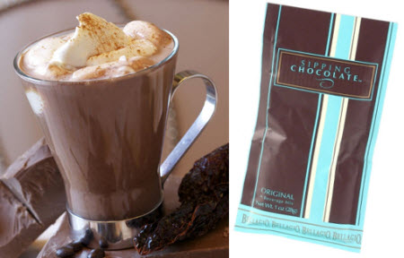 Bellagio Sipping Chocolate Original Single Serve – even better with whipped cream! (Stock image on left and ETS image on right)