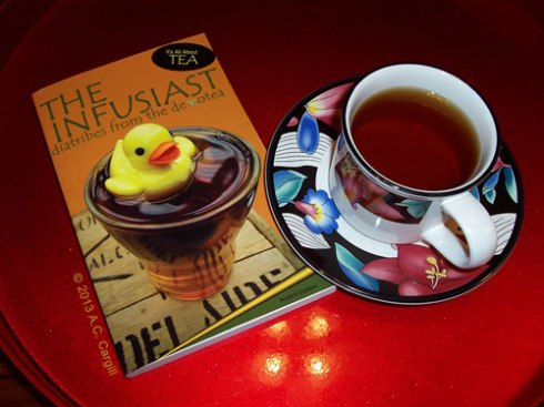 """The Infusiast"" — a not-so-serious yet informative tea book! (Photo by A.C. Cargill, all rights reserved)"