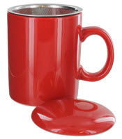 Teaz Cafe Infuser Mug with Lid in a cheery Christmas red! (ETS image)