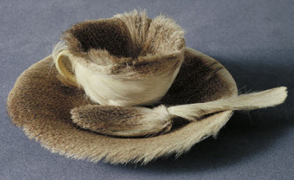 Méret Oppenheim's fur teacup and saucer (Screen capture from site)