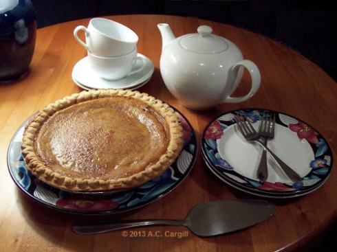 A homemade pumpkin pie surprise from the neighbor! (Photo by A.C. Cargill, all rights reserved)