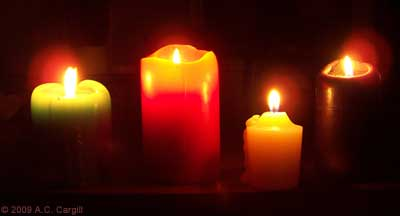 Floating candles! (Well, not really, but they do add a nice touch to tea time. (Photo by A.C. Cargill, all rights reserved)