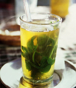 Photo of Moroccan mint tea from Wikimedia Commons