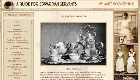 A Guide for Edwardian Servants (screen capture from site)