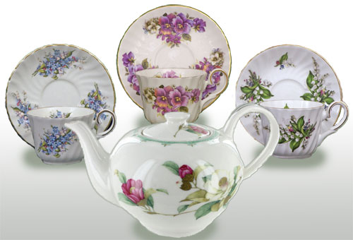 Fine bone china teapot and cup/saucer sets that coordinate well on your table. (ETS image)