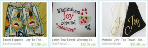 A trio of joyful tea towels (Screen capture from site)