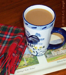 A clan tartan scarf adds the right Scottish touch to tea time! (Photo by A.C. Cargill, all rights reserved)