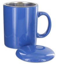 A lidded cup with infuser can be an indispensable part of your tea time arsenal! (Available in several colors) (ETS image)