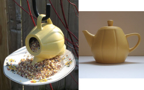 The birdfeeder on the left (Yahoo! Images) appears to be a sibling of my own Little Yellow Teapot on the right (photo by A.C. Cargill, all rights reserved).