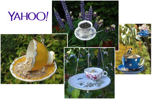 A representative sampling of teacup birdfeeders. (From Yahoo! Images)