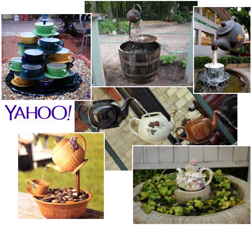 A representative sampling of teacup garden fountains. (From Yahoo! Images)