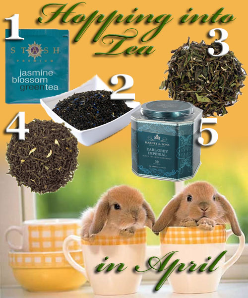 "5 ""hoppy"" teas for April (you'll need to supply the cute bunnies in teacups yourself). (ETS image composite by A.C. Cargill)"
