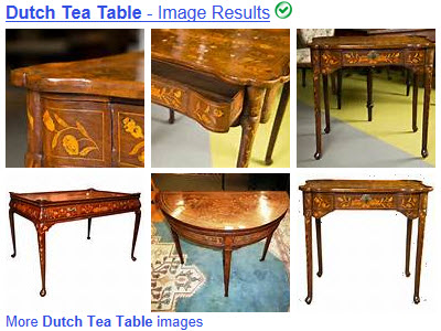 Delicate Dutch tea tables with marquetry and storage drawers. (Yahoo! Images)