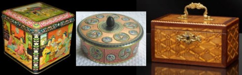 Dutch Tea Tins and Wooden Caddy (Yahoo! Images composite)