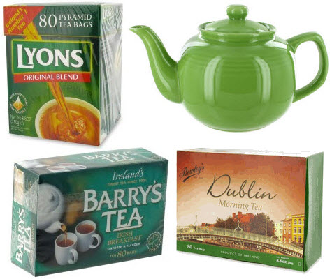 "3 fave Irish brands served up in this lovely green teapot – congrats, you've got your ""green"" on! (ETS images)"